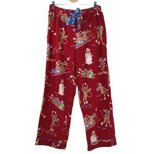 Nick & Nora Winter Sock Monkey Flannel Sleep Bottoms Pants Pajamas